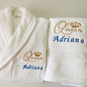 Cadou pentru Adriana halat de baie si prosop personalizate