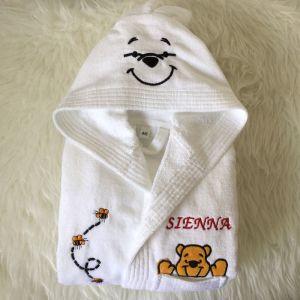 Halat baie copii alb cu ursulet si albinute personalizat