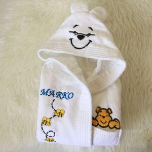 Halat copii alb cu ursulet si albinute personalizat
