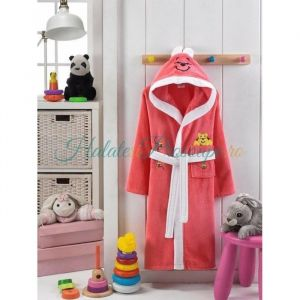 Halat copii roz corai model cu ursulet