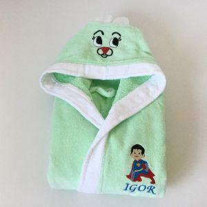 Halat baie copii verde personalizat cu semn zodiacal taur