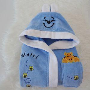 Halat de baie bleu pentru copii personalizat