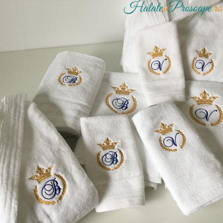 Cadou de nunta set complet de baie halate si prosoape personalizate prin broderie