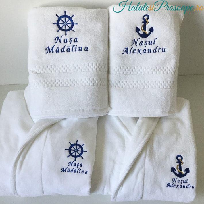Cadou pentru nasu si nasa cu motiv nautic halate de baie si prosoape personalizaten zodiacal