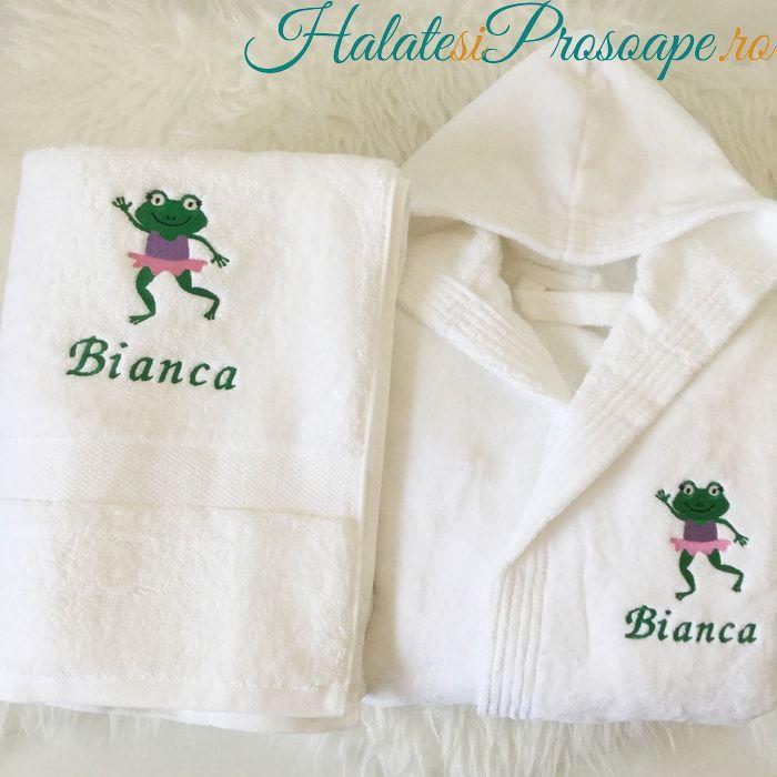 Set halat si prosop pentru copii personalizate cu broscuta