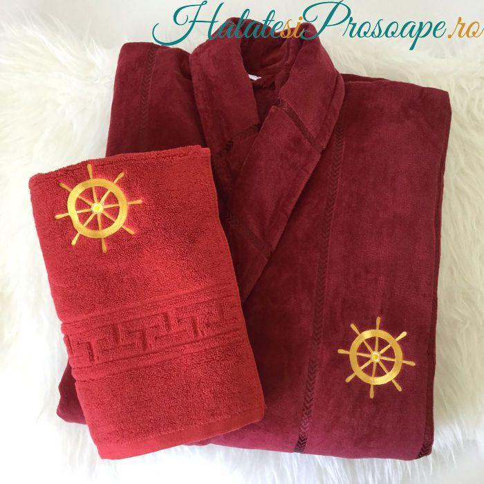 Set halat grena vișiniu si prosop roșu personalizate cu motiv nautic